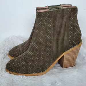 Anthropologie Army Green Suede Studded Booties 9